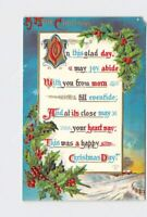 PPC POSTCARD MERRY CHRISTMAS HOLLY POEM GOLD EMBOSSED