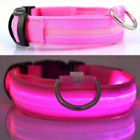 LED Dog Pet Collar Flashing Luminous Adjustable Safety Light Up Nylon Tag