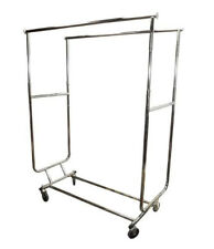 Retail Double Bar Clothes Display Rack Fixture Garment Hanger With Wheels