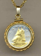Silver and Gold Coin Necklace W/ Rope Bezel, Canadian Bluenose Sailboat, 112