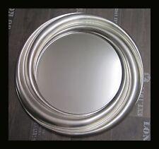 Redondo Espejo de Pared Plata 68cm Elegante Marcos Con facetteschliff NUEVO woe