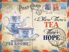 Tea Rooms, Vintage Postcard, Kitchen Cafe Old Shop, Food, Small Metal/Tin Sign