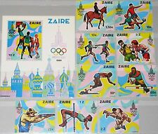 ZAIRE CONGO 1980 unissued Olympics Moscow set Olympia Sport Boxing Soccer MNH R!