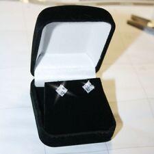 Princess Square White Diamond Alternative Stud Earrings Solid 14k White Gold