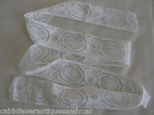 "Antique Victorian French Doll Bear Ecru Eyelet Linen Lace Trim 46"" x 1 3/4"