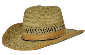 MENS COWBOY HAT COUNTRY WESTERN AUSSIE WIDE BRIM STRAW SUMMER SUN HATS
