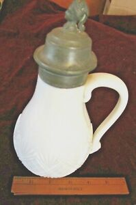 Milk Glass Lang & Lauster Syrup Pitcher Date Oct 31 1871 & C Fancy Pewter Finial