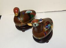 PAIR OF CHINESE CLOISONNE ENAMEL BIRD SHAPE JAR BOXES WITH WOODEN STANDS