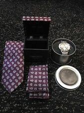 Luxury Mens Tie and Watch Gift Set - PURPLE/SILVER