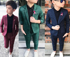 Kids Boys Suit Check Waistcoat Page Boy Prom Suits Wedding Formal Suit Outfits 8