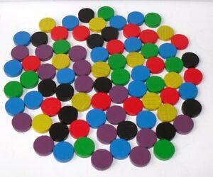 100 Spielchips Spielmarken Scheiben Zählchips Holz 15 x 4mm 6 Farben gemischt