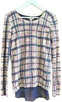 Lucky Brand Cream Multi Check Soft Thin Knit Sweater Jumper Sheer Layer M 10 12