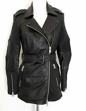 AllSaints Denell Black Leather & Knit Jacket.NWT Retail $725 Price $450 Size 00