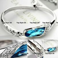 Blue Crystal Silver Bracelet Bangle Cubic Zirconia Gift for Her Women Tennis T1