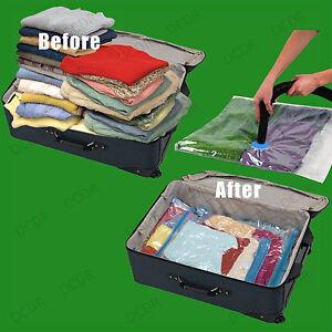 4x 50x70cm Travel Vacuum Bags, Zip Lock, Holiday Luggage Space Saving Suitcase