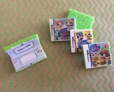 LPS *GREEN* Nintendo DS Gaming + 3 Games Play Littlest Pet Shop Accessories Lot