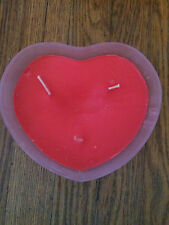 Large Pink heart shape 3 Wick candle in glass BURNS 50 HOURS, In Box