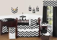 Sweet Jojo Designs Black White Chevron Zigzag Baby Crib Bedding Set for Boy Girl