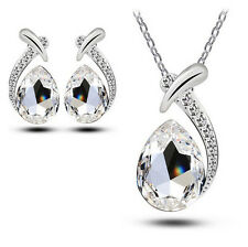 Crystal Pendant Chain Necklace Women Chic Stud Silver Plated Earring Jewelry Set White