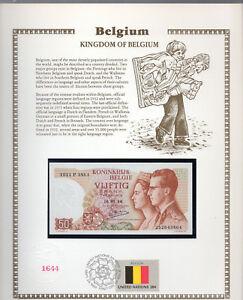 Belgium 50 Francs 1966 P 139a.3 UNC w/FDI UN FLAG STAMP Signature Kestens