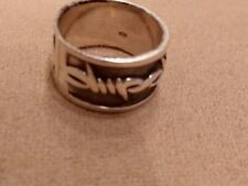 Sterling Silver Band Ring Barbed Wire Design Size 8.5