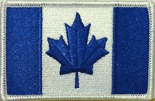 Canada Flag Iron-On Morale Patch Blue & White ARMY Version White Border #3
