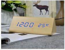 New Voice Control Calendar Thermometer Wooden LED Digital Alarm Clock USB/BAT UK