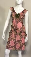 Laundry By Shelli Segal 100% Silk Sheer Dress With Slip Multy Color Size 2