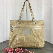 Coach Poppy Story Patch Glam Glamour Tote Shoulder Bag 15301 Khaki Gold RARE