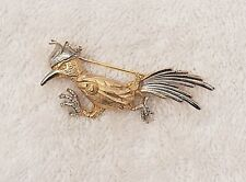 Classic Pin Brooch Road Runner New Mexico State Bird Gold/Silver Tones Fea Vl-Ae