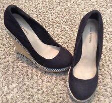 call it spring Canvas Black platform wedge heel size 7.5 Espadrilles