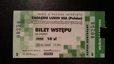 Ticket ZAGLEBIE LUBIN - DINABURG DAUGAVPILS FC 02/03 Intertoto Cup Poland Latvia
