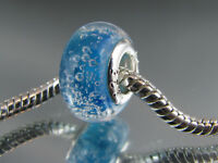 925 SILVER STAMPED BLUE MURANO GLASS BEAD FOR EURO STYLE CHARM BRACELETS #DC 305