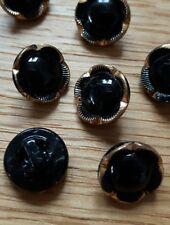 ♥Nr. 114 - Tolle alte Glasknöpfe 15 St. Blumen schwarz gold handbemalt 11 mm ♥