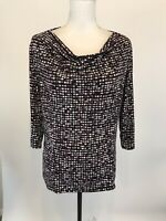Chicos Size 3 XL  Maroon Gray Blouse Stretch Cowl Draped Neck 3/4 Sleeve