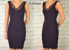 H&M NEW LADIES PLUM LACE STRETCH BODYCON DRESS UK 6,8,10,12,14,16
