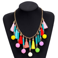 Boho Ethnic Multicolor Pompom Cotton Ball Charm Tassel Fringe Statement Necklace