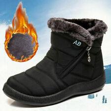 Women's Winter Snow Waterproof Boots Ladies Warm Fur Lined Ankle Shoes Black