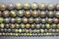 Natural Dragon Bloodstone Gemstone Round Spacer Beads 4mm 6mm 8mm 10mm 15.5""