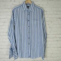 Paul Smith 16 41 Dress Shirt Mens Blue White Stripe Button Up French Cuff