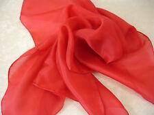 Nickituch 55x55 Cm rot reine Seide Uni einfarbig Seidentuch