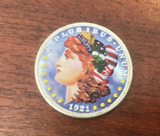 1921 Colorized Painted Morgan Silver Dollar S$1 One Dollar