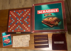 Scrabble Deluxe 2000 edition Turntable Board & Wooden Tiles - Complete