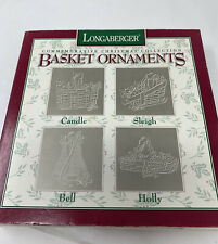 Longaberger Basket Ornaments Pewter Christmas Collection Boxed Set of Four