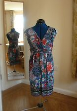 Monsoon,size10 viscose jersey faux wrap, multi-coloured floral sequinned dress