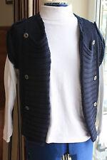 M & S Indigo cotton waistcoat navy blue cable cap sleeve size 10 waist length