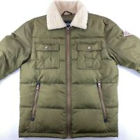 Guess Mens Down Puffer Jacket Aviator Bomber Fur Collar Army Green Size S