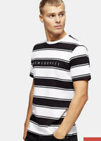Topman T Shirt Top Roman Numerals White Black Stripe Tee Size XS,M,XXL EJ15