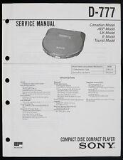 Sony d-777 Original Discman/portable lecteur CD de service manual/Diagram o150