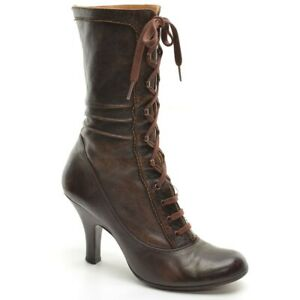 Womens Chie Mihara Victorian Lace Up Granny Boots 39 / 8.5 Brown Leather Shoes